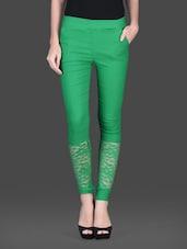 Green Cotton Spandex Knit Net Lace Jeggings - Vivomo