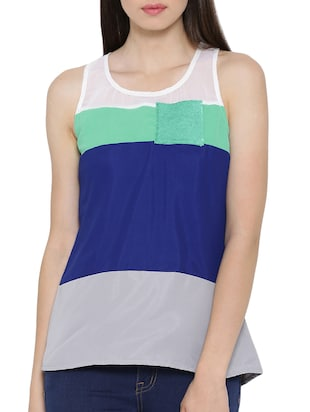 blue racer back tank top