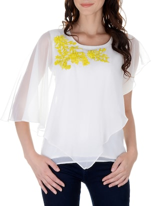 white georgette layer top