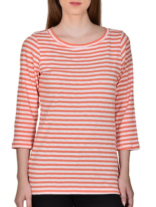 orange viscose striped top