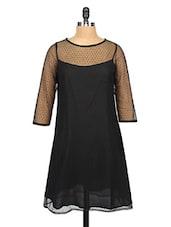 Black Sheer Yoke Lace Shift Dress - RIGOGLIOSO