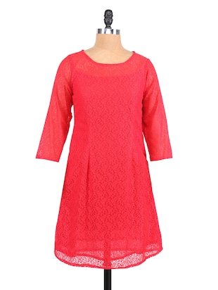 Red Round Neck Lace shift Dress