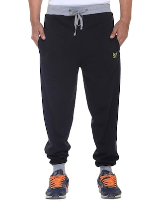 black cotton full length jogger