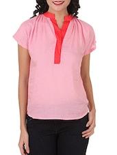 Pink Mandarin Collar Viscose Top - Silk Weavers