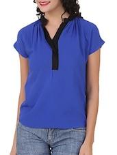 Blue Mandarin Collar Viscose Top - Silk Weavers