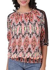 Quarter Sleeves Printed Poly Georgette Top - Silk Weavers