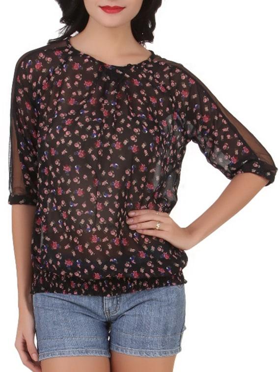 Quarter Sleeves Floral Print Poly Georgette Top - Silk Weavers