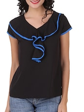 Ruffled Neck Solid Poly Crepe Top - Silk Weavers