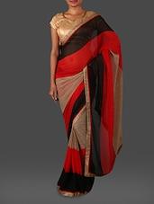 Zari Border Colour Block Georgette Saree - Nanda Silk Mills
