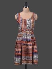 Round Neck Sleeveless Box Pleated Printed Dress - Shabari