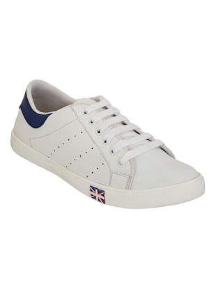 white and navy blue faux leather sneaker