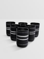 Black Stainless Steel Glass Set Of 6 Pieces - By