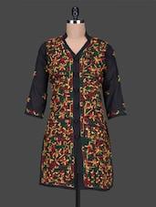 Mandarin Collar Aari Work Cotton  Kurta - Saadgi