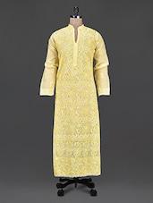 Mandarin Collar Sheer Aari Work Long Kurta - Saadgi