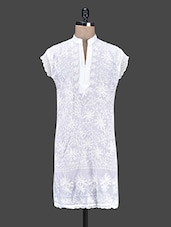 Short Sleeved Aari Work Cotton Kurta - Saadgi