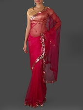 Pink Net Saree With Sequined Border - Janasya