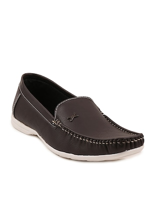 brown leatherette slip on loafers