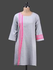 Grey Cotton A-Line Kurta - Ekmatra