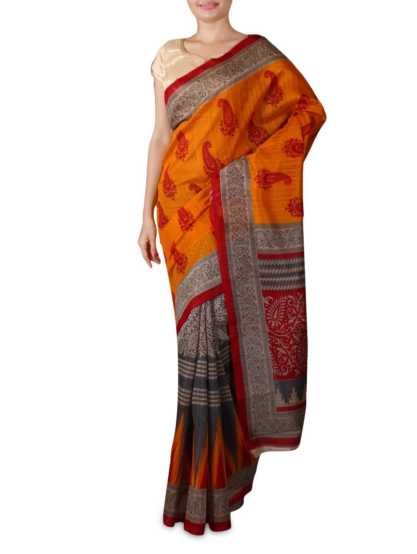 Orange And Grey Printed Silk Saree - By