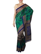 Teal And Grey Printed Silk Saree - By
