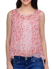 Pink Floral Printed Sleeveless Top - KARYN