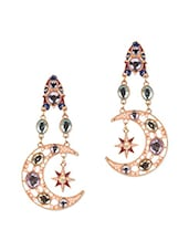 Multicolour Acrylic Metallic Sun Moon Earrings With Push Back Closure - Femnmas