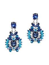 Blue Stones Metallic Earrings With Push Back Closure - Femnmas