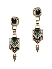 Multicolour Stone Metallic Ethnic Earrings With Push Back Closure - Femnmas