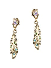 Multicolour Stones  Metallic Small Feather Earrings - Femnmas
