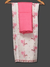 Embroidered White And Pink Unstitched Suit Piece - Boutique Rupkatha