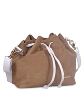 Tan Leather Sling Bag With Drawstrings - By