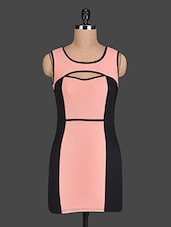 Color Block Sleeveless Sheath Dress - PINK LACE