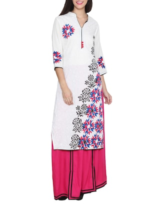 white colored, printed long rayon kurta
