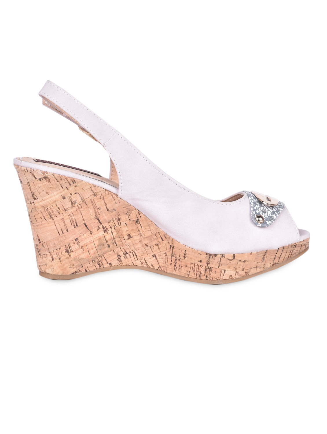 Metal Trim Sling Back White Peep Toe Wedges - Flat N Heels