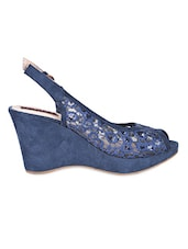Sling Back Peep Toe Blue Lace Wedges - Flat N Heels