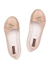 Cross Straps Beige Leatherette Ballerinas - Flat N Heels