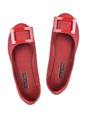Trim Embellished Red Leatherette Ballerinas - Flat N Heels