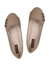 Button Embellished Leatherette Ballerinas - Flat N Heels