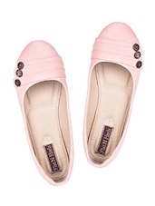 Button Embellished Pink Leatherette Ballerinas - Flat N Heels