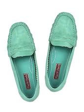 Green Leatherette Loafers - Flat N Heels