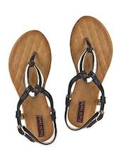 Embellished Sling Back Black Flats - Flat N Heels