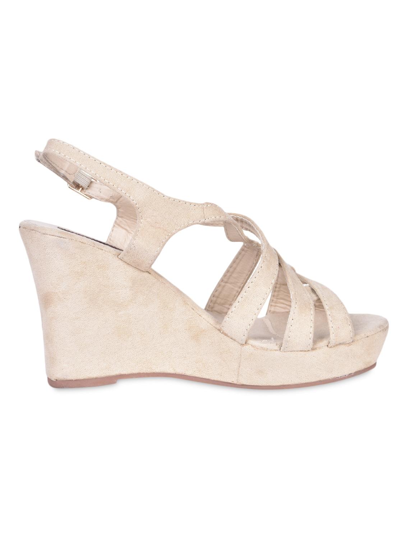 Buckle Lace Beige Strapy Wedges - Flat N Heels