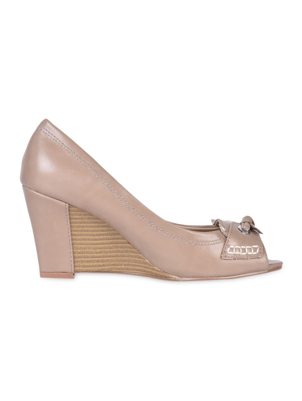 Knotted Beige Peep Toe Wedges - Flat N Heels