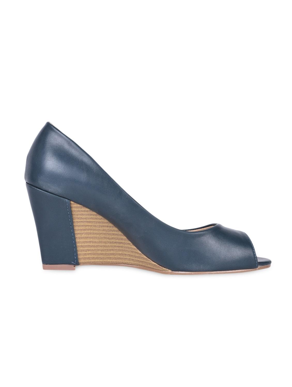 Solid Blue Peep Toe Wedges - Flat N Heels