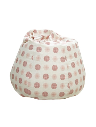 white and red printed canvas bean bag