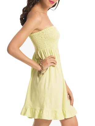 a35c22209a54 Buy Solid Off Shoulder Smocked Dress for Women from Prettysecrets for ₹409  at 59% off | 2019 Limeroad.com