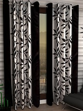 Home Fantasy Set Of 2  Black Floral Eyelet Door Curtain - By