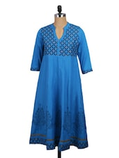 Printed Yoke Quarter Sleeve Blue Kurta - Mytri