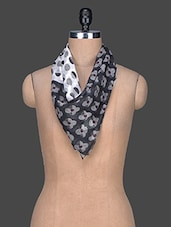 Monochrome Printed Cotton Scarf - Red Lorry