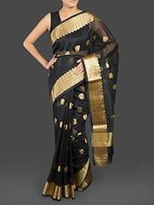 Black Cotton Banarasi Saree - WEAVING ROOTS